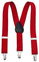 Albert's Baby/Kids Solid Color Elastic Adjustable Wedding Suspenders (22'', Red)
