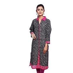 Saamarth Impex Women Cotton Black Color Printed Work Collar Neck Printed Style Kurti SI-2878