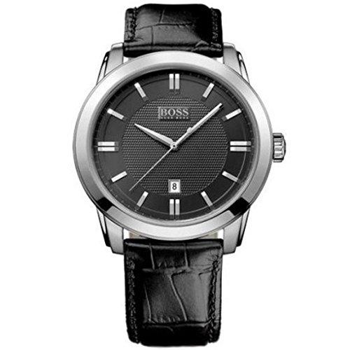 Hugo Boss Reloj de hombre correa de piel, indicación de fecha Negro