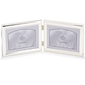 Lawrence Frames 510775D Silver Double Bead Hinged Double Picture Frame, 7 by 5-Inch