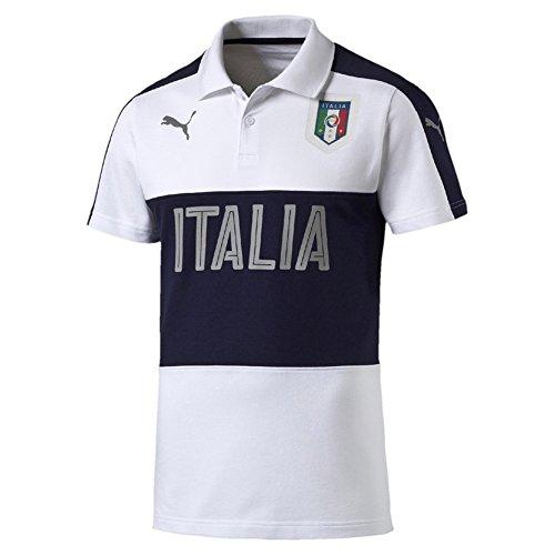 Puma Figc Italia Azzuri Casual Polo da uomo, White/Peacoat, L