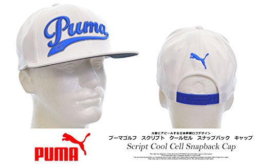 Puma Script Cool Cell Snapback Cap Mens Headwear-White/Blue-Adjustable