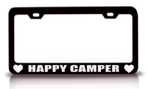 HAPPY CAMPER Family Steel Metal License Plate Frame Bl#31 (Camper Plate Holder compare prices)
