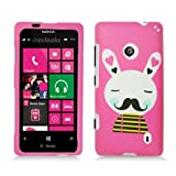 Rubberized Plastic Hot Pink Rabbit W/ Mustache Hard Cover Snap For Nokia Lumia 521 (StopAndAccessorize)