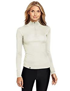 Ibex Outdoor Clothing Women's Woolies 150 Zip T Baselayer Tops, Rock Salt, X-Small