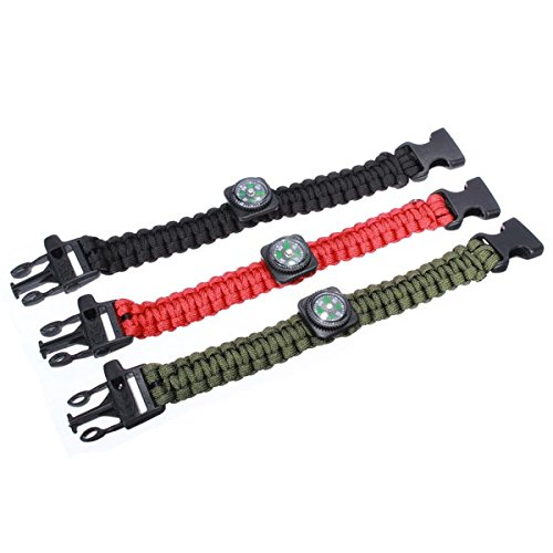 Green Outdoor Emergency Survival Paracord Bracelet Compass Whistle Bracelet By Chonlyshop
