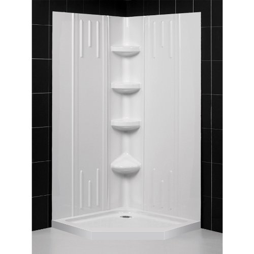 DreamLine DL-6139-01 SlimLine 38-Inch by 38-Inch Neo Shower Tray and QWALL-2 Shower Back Walls Kit