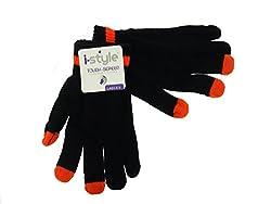 Ladies Neon Tip Touchscreen Stretch Gloves - Orange