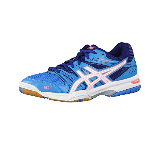 Asics Gel-Rocket 7 Scarpe da Pallavolo, Donna, Multicolore (Blue Jewel/White/Flash Coral), 37 1/2