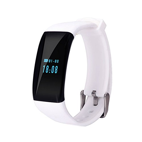 Longess Fitness Tracker, App-Enabled Bluetooth 4.0 Water Resistance Smart Watch, Sleep and Heart Rate Monitor Compatible with Android and IOS Smartphones (White)