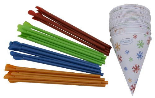 Time for Treats TM  Snow Cone Cups and Spoon Straws 25-Pack by VICTORIO VKP1125 (Olaf Snow Cone Maker compare prices)