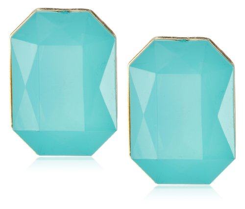 Blue Faceted Stone Gold Tone Clip-On Earrings