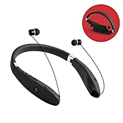 Bluetooth Headset, Grandbeing® V4.1 Bluetooth Headphones Wireless Stereo Foldable Neckband Earphones with Retractable Earbuds for iPhone Samsung HTC Smartphones, Black