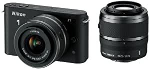 Nikon 1 J1 Compact System Camera with 10-30mm and 30-110mm Double Lens Kit - Black (10.1MP) 3 inch LCD