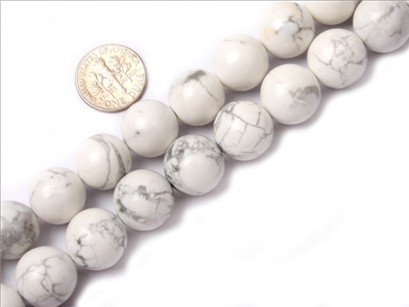 14mm round gemstone white howlite beads strand 15