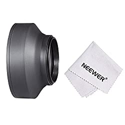 Neewer 49MM Collapsible Rubber Lens Hood for SONY Alpha A3000, NEX (NEX-3 NEX-5N NEX-7 NEX-F3) with 55-210mm Lens + Microfiber Lens Cleaning Cloth