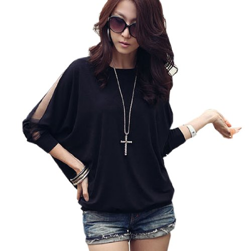 Partiss Womens Round Neck Mesh Decor Loose Shirt, Small, Black Mesh