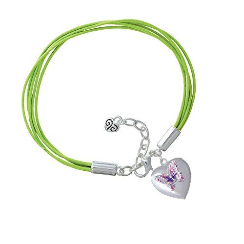 Pink & Purple Butterfly Locket Lime Green Leather Aruba Bracelet