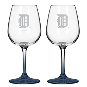 MLB Detroit Tigers Satin Etch 2-Ounce Wine Glass (Pack of 2) by Boelter