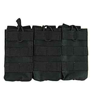 Military Law Enforcement M4 M16 Triple Open Top Mag Magazine Pouch with Bungee System BLK