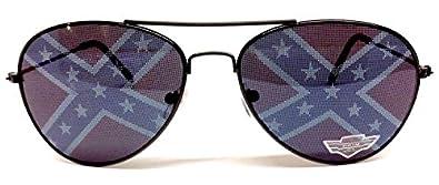Black Confederate Flag Aviator Sunglasses