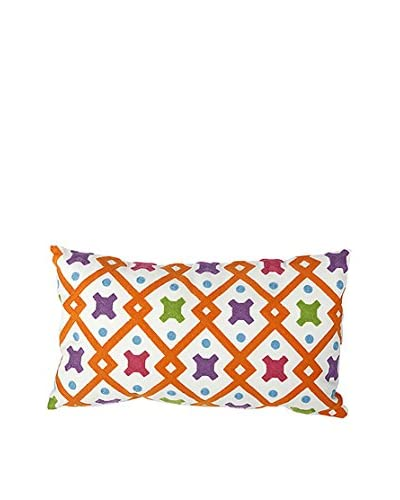 David Tutera Embroidered Lumbar Pillow, Orange Multi