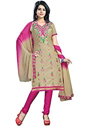 Justkartit Women's (& Girls) Beige & Pink Colour Embroidery Unstitched Churidar
