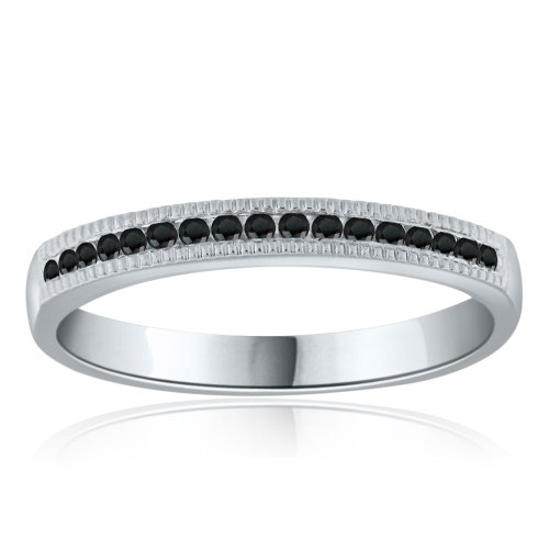 Sterling Silver Simulated Black Simulated Diamond Band-0.20ct