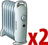 2x 7 Fin Compact Oil Filled Radiator 700W Thermostat Controlled