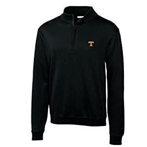Buy NCAA Mens Tennessee Volunteers Black Journey Supima Flatback Half Zip Jacket by Cutter & Buck