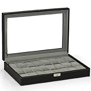 Watch Box Large 24 Mens Black Leather Display Glass Top Jewelry Case Organizer
