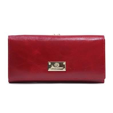 Anais Gvani Women's Genuine Leather Clutch Style Wallet w/ Kiss-lock Closure -Red
