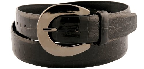 Womens Classic Black Crocodile Print Faux Leather Belt Large