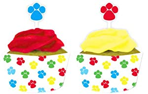 Creative Converting Paw-Ty Time Cupcake Topper Decorations with Matching Baking Cup Wrappers, 12 Count