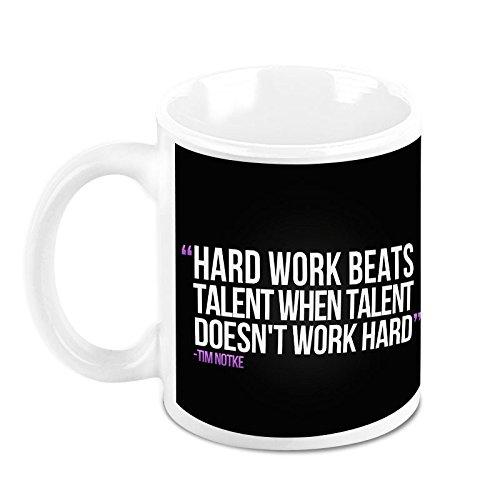 HomeSoGood Hard Work Is Key To Success Office Quote White Ceramic Coffee Mug - 325 Ml