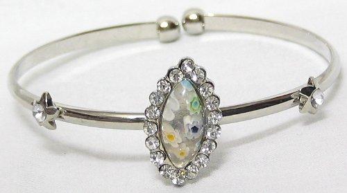 White Stone Metal Cuff Bracelet - Metal