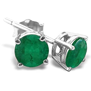 4mm Emerald Stud Earrings crafted in Sterling Silver 1/2ct tgw