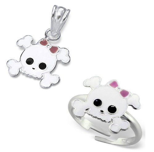 Children's Skull Sterling Silver Adjustable Ring and Pendant Set (Skull size: 1.2cm x 1cm) Ring Size Adjustable appx: Size E to K - Supplied in Gift Box