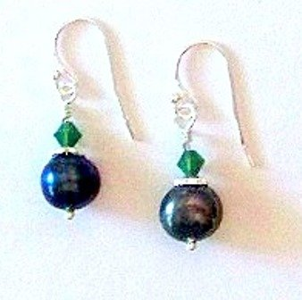Peacock Fresh Water Pearl Earrings by SilverChicks