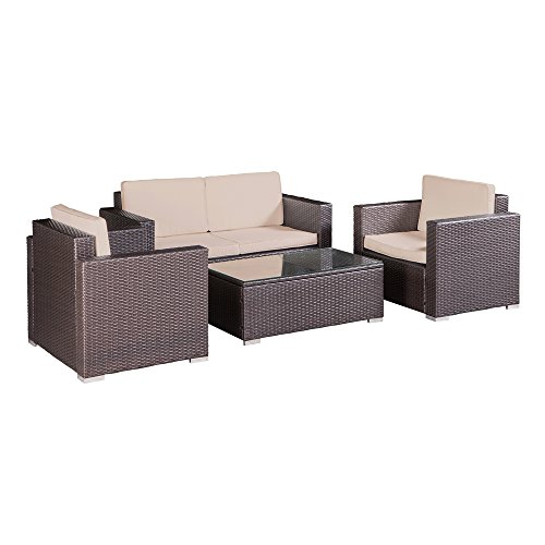 Palm Springs Outdoor 4 pc Furniture Wicker Patio Set w/ Chairs, Table & Cushions