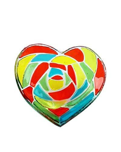 Dynasty Gallery Glass Pixels Large Heart Plate, Red/Green/Blue/Yellow