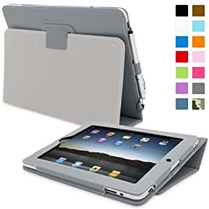 Snugg iPad 1 Case - Cover with Flip Stand & Lifetime Guarantee (Grey Leather) for Apple iPad 1