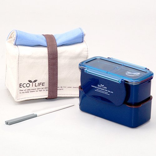 Lock & Lock BPA Free Mini Diet Lunch Box with Chopsticks and Cotton Bag (Blue) - 1