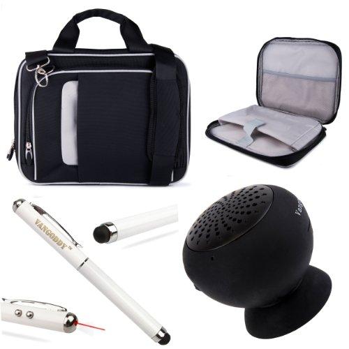 """Pinn Messenger Bag For Hannspree T7 Series 10.1"""" Tablet + Vg Stylus Pen + Black Vangoddy Suction Stand Bluetooth Speaker (Black)"""