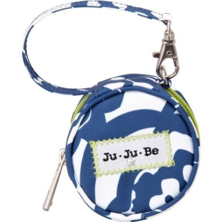Ju-Ju-Be Paci Pod Zippered Pacifier Holder With Wrist Strap, Cobalt Blossoms back-872597