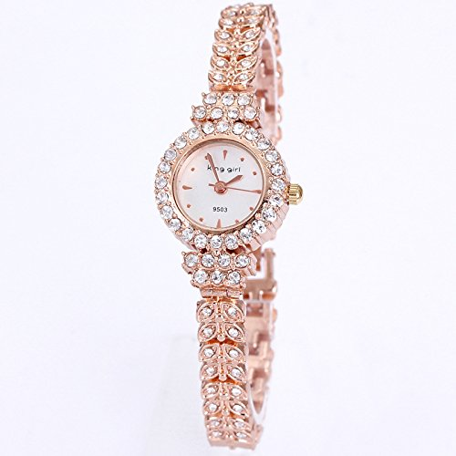 Royal Rose Gold Bracelet Watch, Women Top Brand Unique Watch, Full Crystal Diamonds Quartz Watch for Ladies 15000102 image