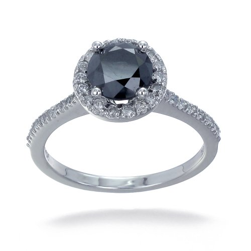 2 CT Black Diamond Engagement Ring in 10K White Gold (Available In Sizes 4 - 10)