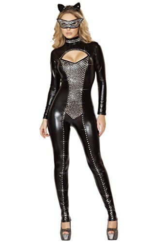 Sexy Cat Woman Rhinestone Wet Look Halloween Costume