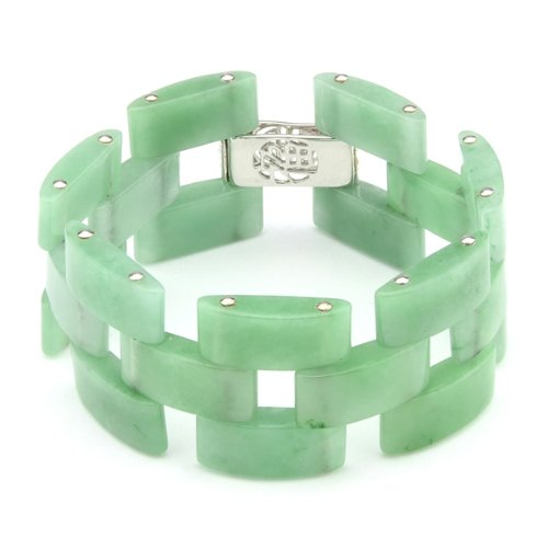 Sterling Silver with Chinese Symbol Clasp Jade Link Bracelet