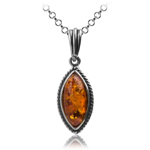 Sterling Silver Honey Amber Drop Pendant Necklace , 18